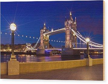 London Tower Bridge By Night Wood Print by Melanie Viola