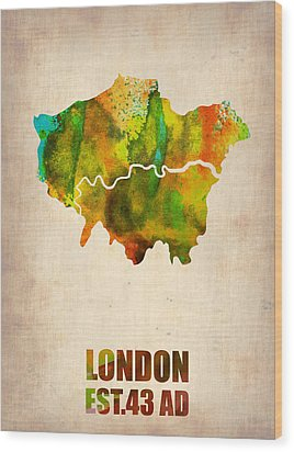 London Watercolor Map 1 Wood Print by Naxart Studio