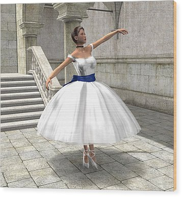 Wood Print featuring the digital art Lone Ballet Dancer by Jayne Wilson