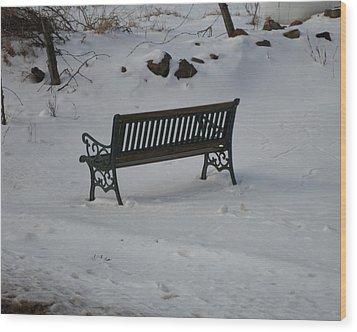 Lone Bench Wood Print by Jenna Mengersen