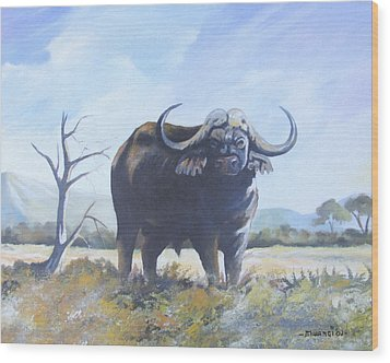 Wood Print featuring the painting Lone Bull by Anthony Mwangi