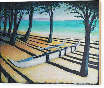 Lone Canoe Wood Print by Angela Treat Lyon