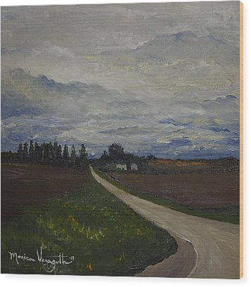 Lone Country Road Wood Print by Monica Veraguth