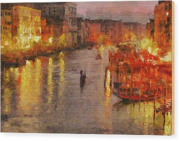 Wood Print featuring the painting Lone Gondolier At Night by Kai Saarto