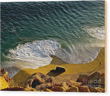 Lone Hiker At Sunset On Secluded Beach At Cabo San Lucas Wood Print by Sean Griffin