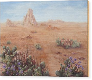 Wood Print featuring the painting Lone Mesa by Roseann Gilmore