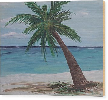 Wood Print featuring the painting Lone Palm by Debbie Baker