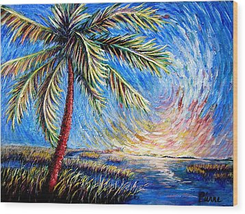 Lone Palm Wood Print by Sebastian Pierre
