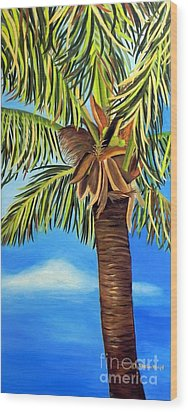 Wood Print featuring the painting Lone Palm by Shelia Kempf