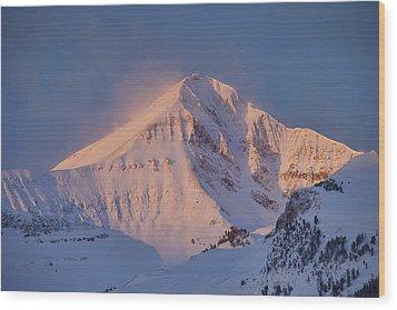 Lone Peak Alpenglow Wood Print by Mark Harrington