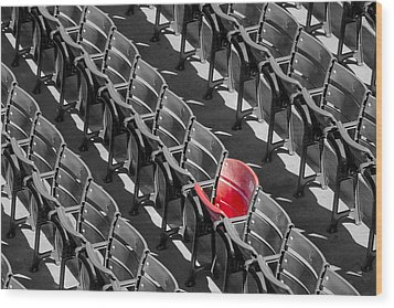 Lone Red Number 21 Fenway Park Bw Wood Print by Susan Candelario