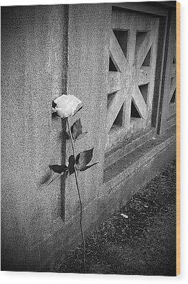 Lone Rose Wood Print by HW Kateley