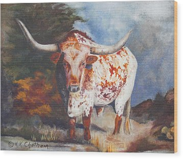 Wood Print featuring the painting Lone Star Longhorn by Karen Kennedy Chatham