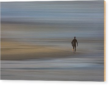 Wood Print featuring the photograph Lone Surfing Walking A Surreal Shoreline by David Orias