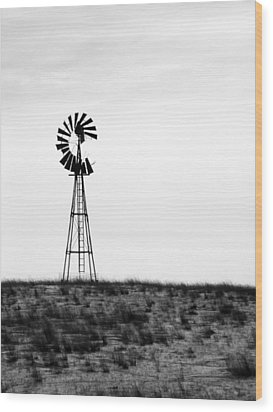 Wood Print featuring the photograph Lone Windmill by Cathy Anderson