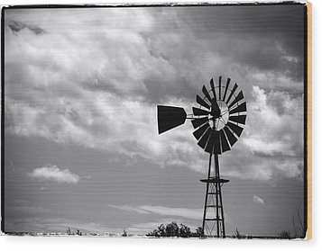 Lone Windmill On The Prairie Wood Print
