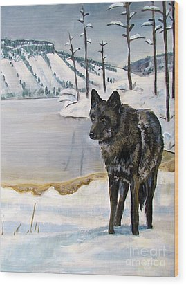 Lone Wolf Wood Print by Harriet Peck Taylor