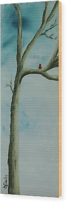 Wood Print featuring the painting Loneliness by Annamarie Sidella-Felts