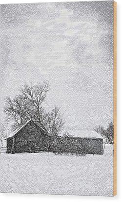 Loneliness Sketch Wood Print by Steve Harrington