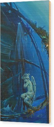 Lonely Angel Of The Deep Wood Print by Ottilia Zakany
