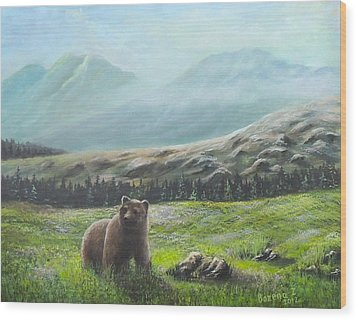 Wood Print featuring the painting Lonely Bear by Bozena Zajaczkowska