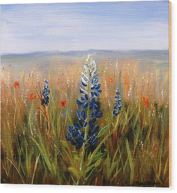 Lonely Bluebonnet Wood Print by Patti Gordon