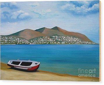 Lonely Boat Wood Print by Kostas Koutsoukanidis