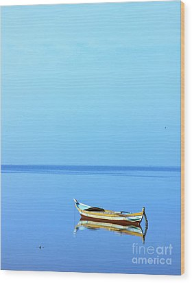 Wood Print featuring the photograph Lonely Boat by Mohamed Elkhamisy