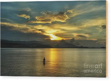 Lonely Fisherman Wood Print