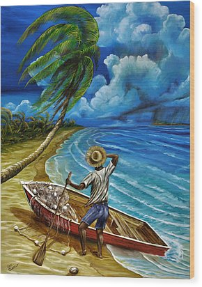 Lonely Fisherman Wood Print