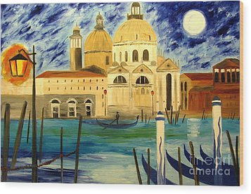 Lonely Gondolier Wood Print by Mariana Stauffer