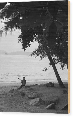 Lonely Guitarist Wood Print by Kaleidoscopik Photography