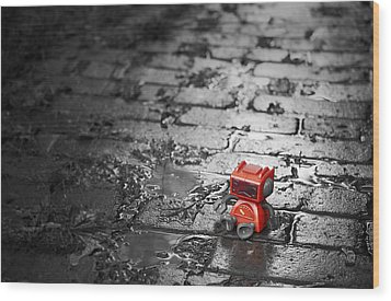 Lonely Little Robot Wood Print by Scott Norris