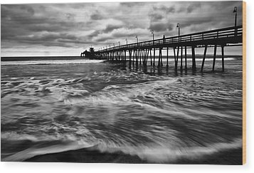 Wood Print featuring the photograph Lonely Man On The Pier by Ryan Weddle