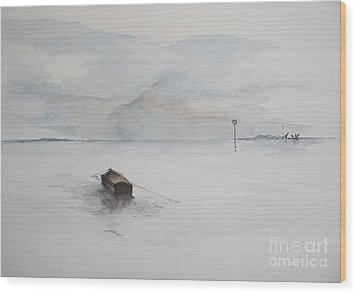 Wood Print featuring the painting Lonely Mooring by Sibby S