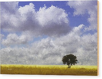 Lonely On The Prairie Wood Print by Ann Powell