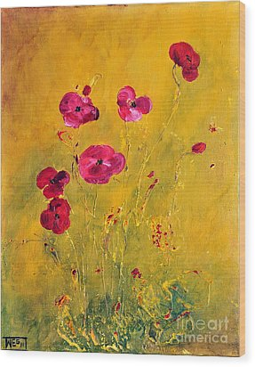 Wood Print featuring the painting Lonely Poppies by Teresa Wegrzyn