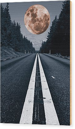 Lonely Road And Full Moon Wood Print