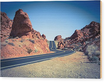 Lonely Southwestern Road Wood Print by Laura Palmer