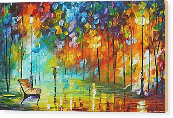 Lonely Stroll 3 Wood Print by Leonid Afremov