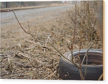Lonely Tire Wood Print