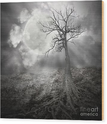 Lonely Tree With Roots Holding The Moon Wood Print by Angela Waye