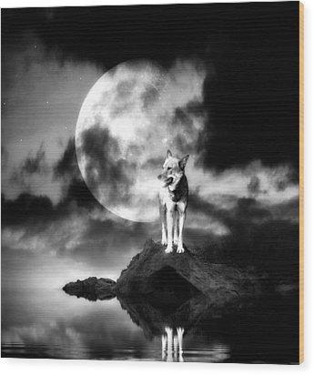 Lonely Wolf With Full Moon Wood Print by Jaroslaw Grudzinski