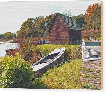 Long Ago Along The Marsh Wood Print