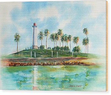 Long Beach Lighthouse  Version 2 Wood Print by Debbie Lewis