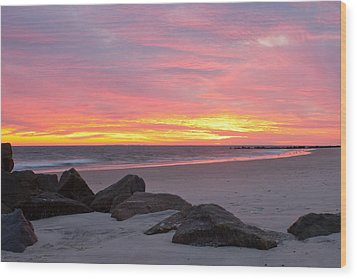 Long Beach Sunset Wood Print