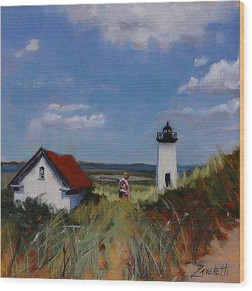 Long Point Lighthouse Wood Print by Laura Lee Zanghetti