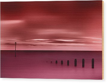 Long Red Sunset Wood Print