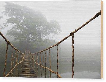 Long Rope Bridge Wood Print by Skip Nall