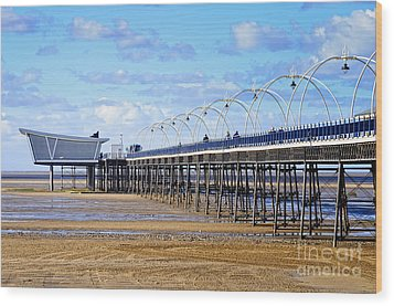 Long Seaside Pier At Southport - England Wood Print by David Hill
